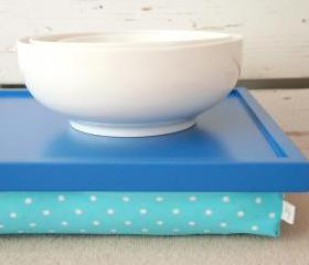 iPad stable table or Laptop Lap Desk without edges - Bright Blue with Aqua Polka Dot pillow- Custom Order