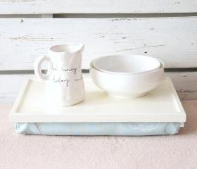 Laptop Lap Desk or Breakfast serving Tray - Off white with Sky Blow Floral print Pillow- Custom Order