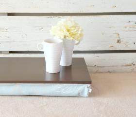 Computer pillow tray without borders- Greyish brown with sky blue floral cushion- Custom Order