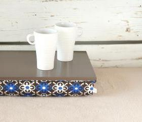 I- Pad stable table or Laptop Lap Desk without edges -Greyish brown with Brown and Blue Mediterranean print lycra Pillow
