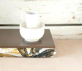 Stable table, iPad stand or Breakfast serving Tray - Greyish Brown with Blue and Brown Floral pillow
