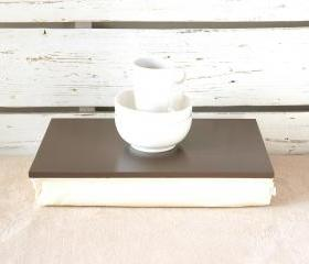 I- Pad stable table or Laptop Lap Desk without edges - Greyish brown with Ivory linen pillow- Custom Order