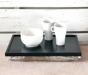 Laptop Lap Desk or Breakfast serving Tray, Stable table - Black with Natural brown pillow printed with shinny silver print