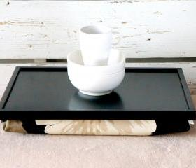 Laptop Lap Desk or Breakfast serving Tray, Stable table - Black with Black, brown and creme Floral pillow