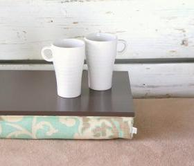 I- Pad stable table or Laptop Lap Desk without edges - Greyish brown with light mint, brown and ivory linen pillow