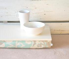 I- Pad stable table or Laptop Lap Desk without edges - Off White with light mint, brown and ivory linen pillow