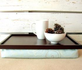 Computer pillow tray - Dark Brown with sky blue floral cushion- Custom Order