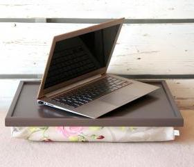 Laptop Lap Desk or Breakfast serving Tray - Greyish brown with Rose Floral print Pillow