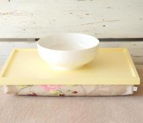 Laptop Lap Desk or Breakfast serving Tray - Soft yellow with Rose Floral print Pillow