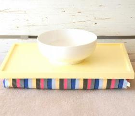 Laptop Lap Desk or Breakfast serving Tray - Soft Yellow with Multicolor Lycra Pillow