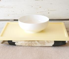 Laptop Lap Desk or Breakfast serving Tray, Stable table - Soft Yellow with Black, brown and creme Floral pillow