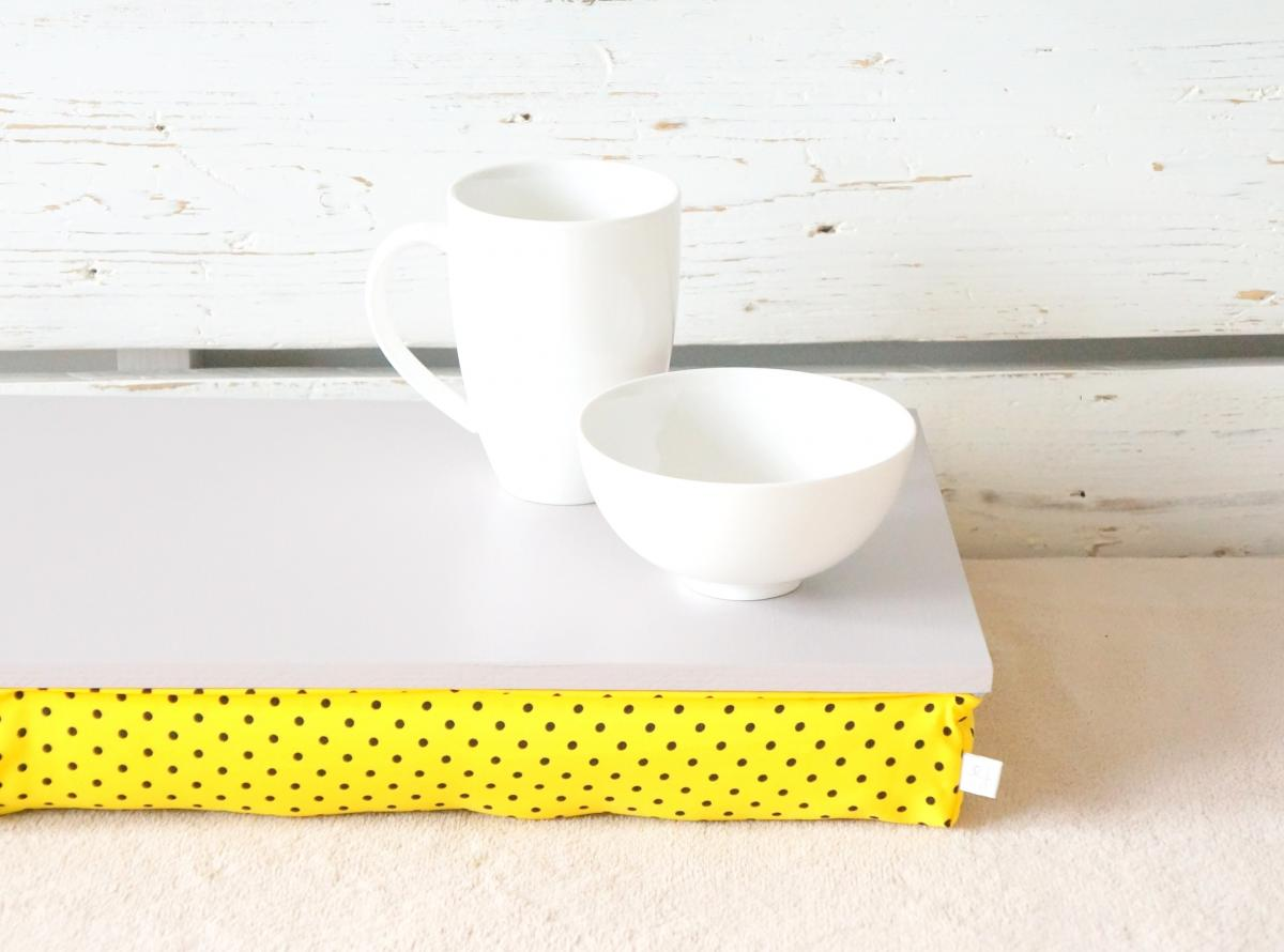 I- Pad stable table or Laptop Lap Desk without edges - Grey with yellow and black polka dots pillow- Custom Order