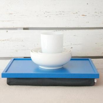 Bright blue Laptop Lap Desk or Breakfast serving Tray - with Grey Linen Pillow
