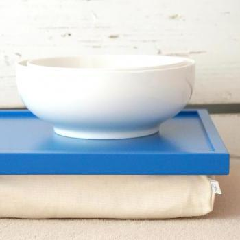 Bright blue Laptop Lap Desk or Breakfast serving Tray - with off white Linen Pillow